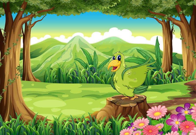 Um pássaro verde acima do coto na floresta ilustração stock