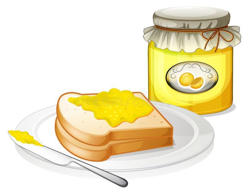 Um pão com uma propagação do sanduíche ilustração do vetor