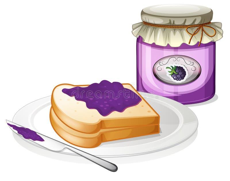 Um pão da fatia e uma garrafa da uva bloqueiam ilustração stock