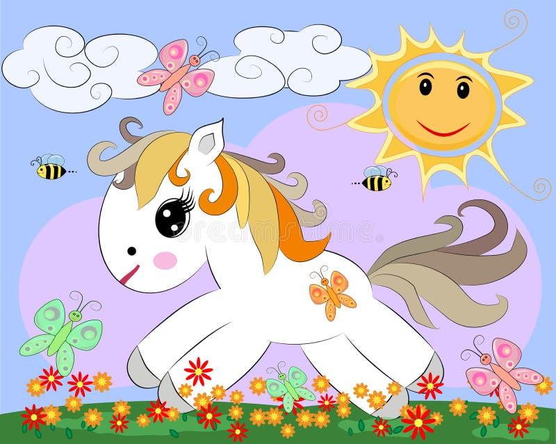 Um pônei branco pequeno dos desenhos animados em uma clareira com um arco-íris, flores, sol ilustração royalty free