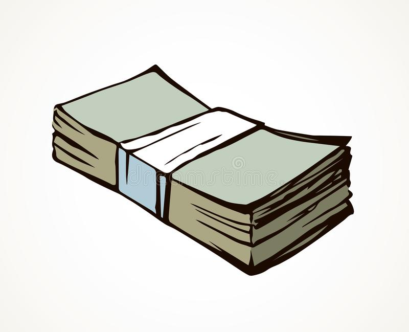 Um pacote de dinheiro Desenho do vetor ilustração do vetor
