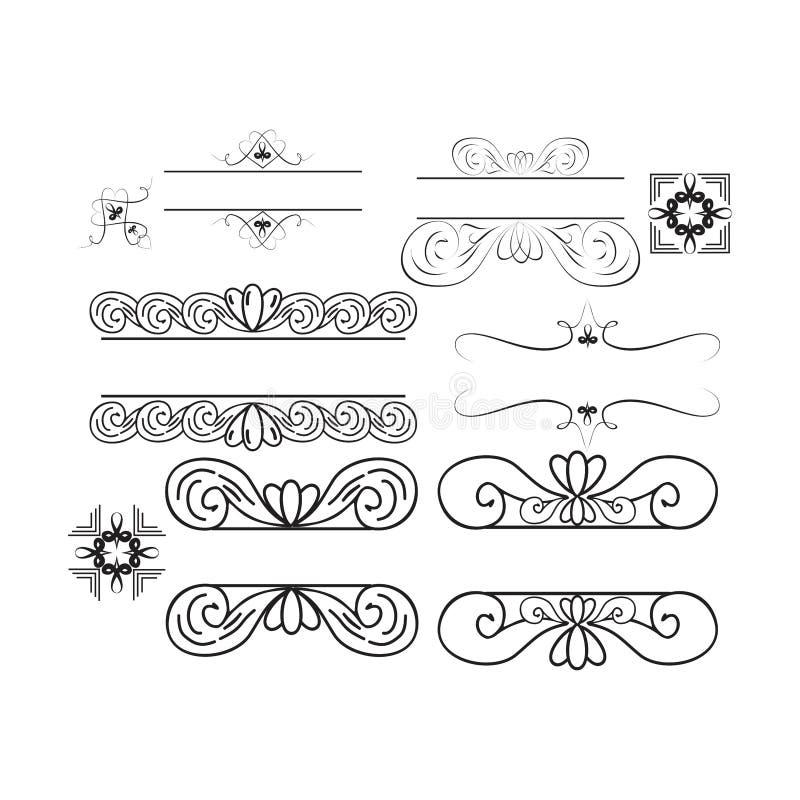 Um pacote de ornamento floral do vintage para intitular, convites ou decorações ilustração stock