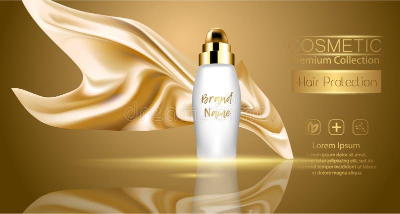 Um pacote realístico do cosmético do molde projeto do bloco do produto dos cosméticos da proteção do cabelo Textil de seda realís ilustração royalty free