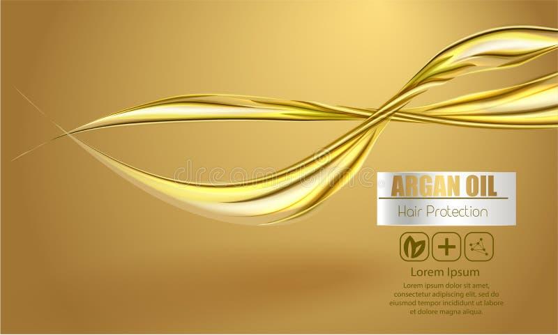 Um pacote realístico do cosmético do molde respingo 3d do óleo líquido Espirrando o óleo do argão, produto dos cosméticos da prot ilustração royalty free