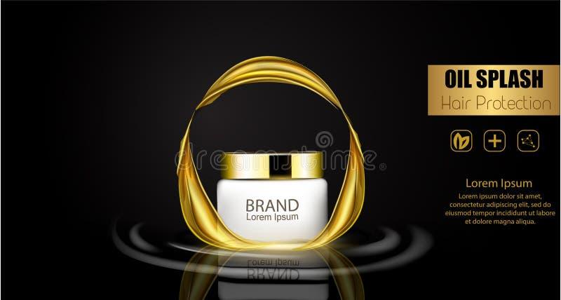 Um pacote realístico do cosmético do molde respingo 3d do óleo líquido Espirrando o óleo do argão, produto dos cosméticos da prot ilustração stock