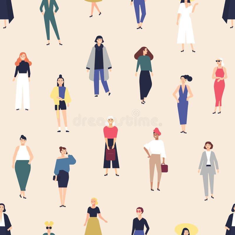 Um padrão sem igual com mulheres jovens elegantes vestidas de roupas elegantes em fundo leve Fundo com hipster fresco ilustração royalty free