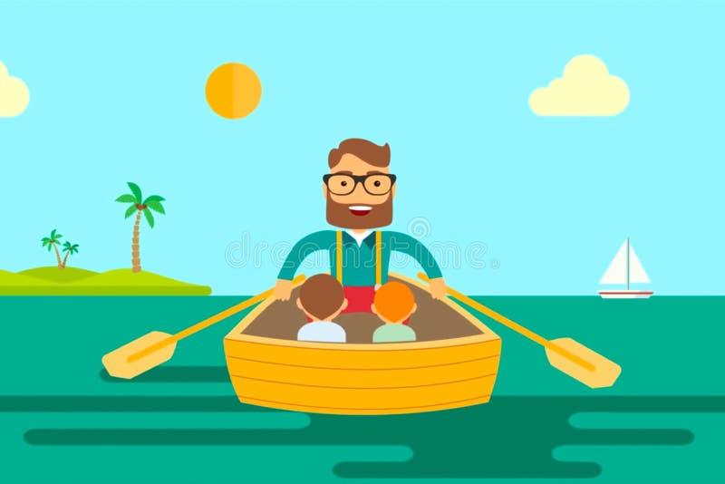 Um pai do homem com os dois filhos que navegam em um barco no mar ilustração do vetor