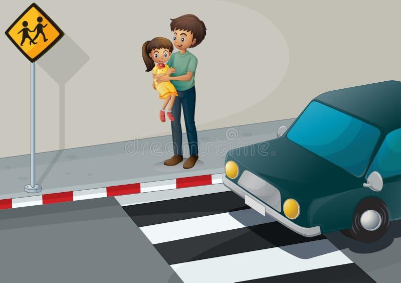 Um pai que leva sua filha na pista pedestre ilustração stock