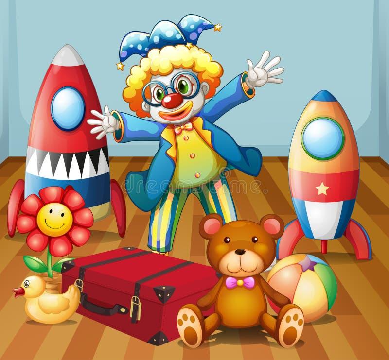 Um palhaço com muitos brinquedos ilustração royalty free