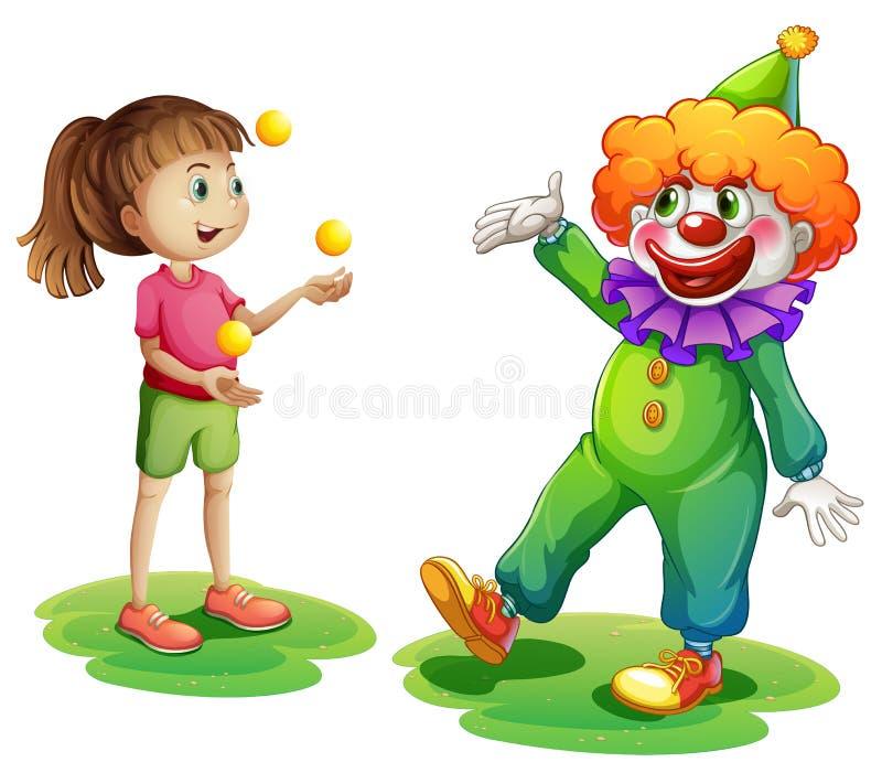 Um palhaço e uma moça ilustração royalty free