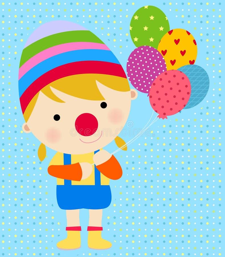 Um palhaço feliz com balões ilustração do vetor