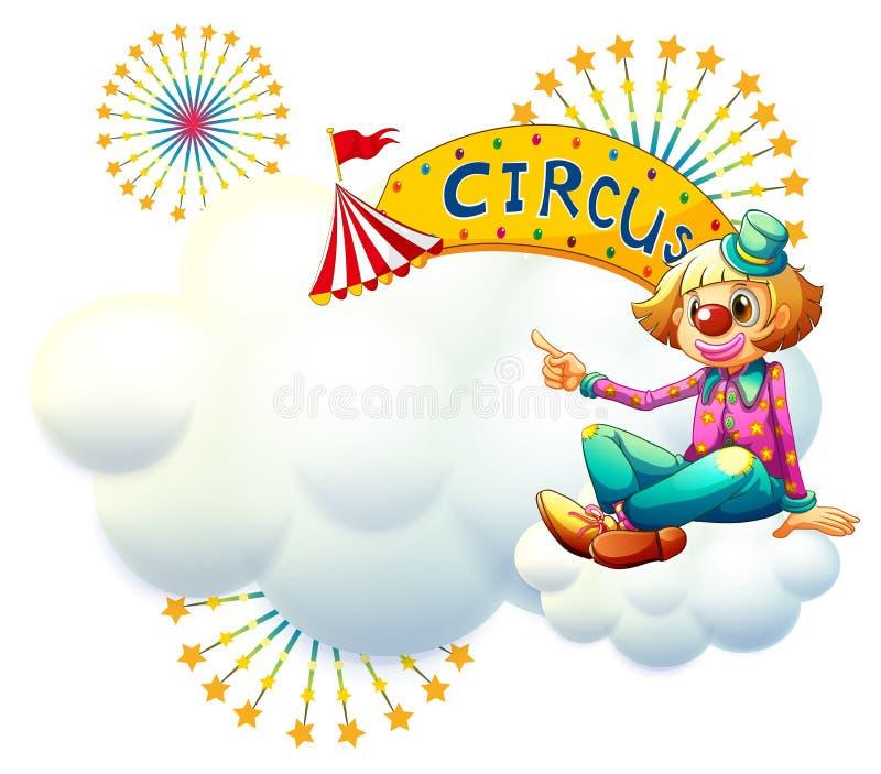 Um palhaço perto do signage amarelo do circo ilustração royalty free
