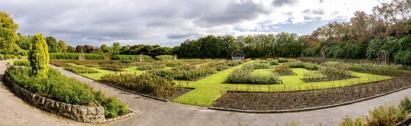Um panorama cênico de uma mãe de rainha renovada Rose Garden no parque de Hazlehead, Aberdeen, Escócia foto de stock