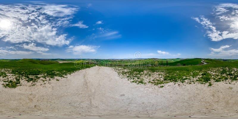 um panorama de 360 graus do campo de Siena, Toscânia imagem de stock