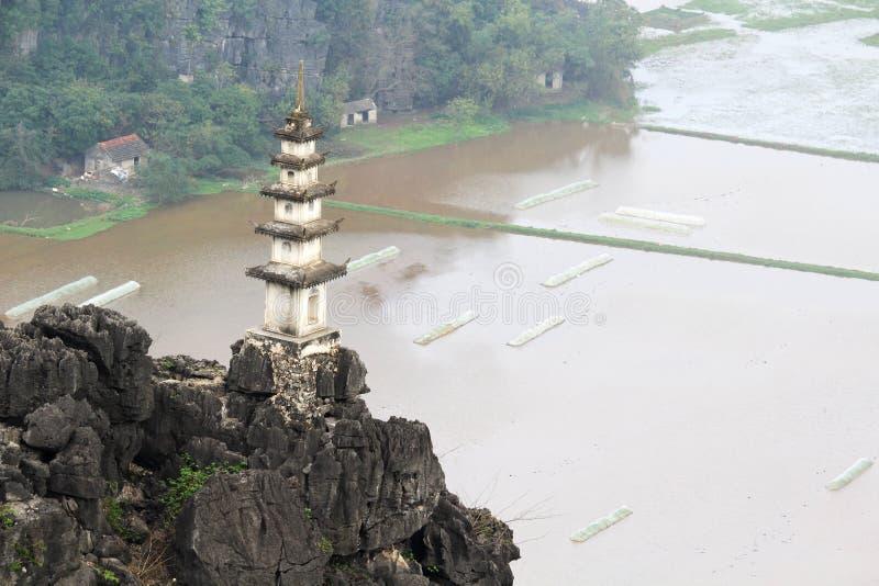 Um panorama de Hang Mua, Ninh Binh, Vietname imagens de stock