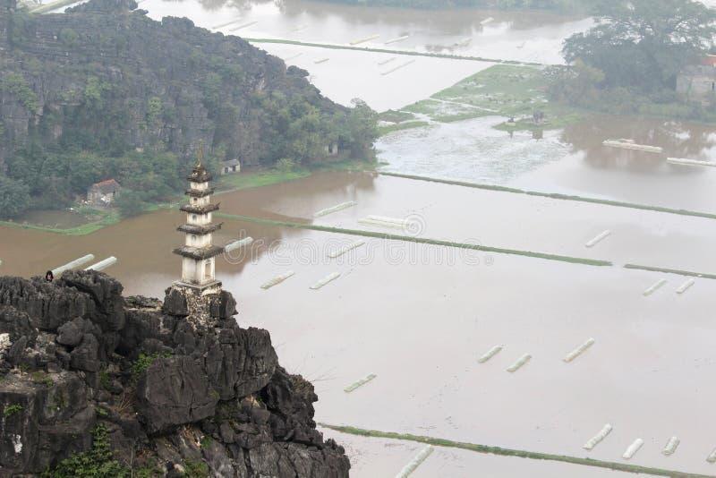 Um panorama de Hang Mua, Ninh Binh, Vietname foto de stock royalty free