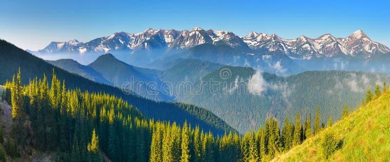 Um panorama vasto de partes superiores da montanha foto de stock