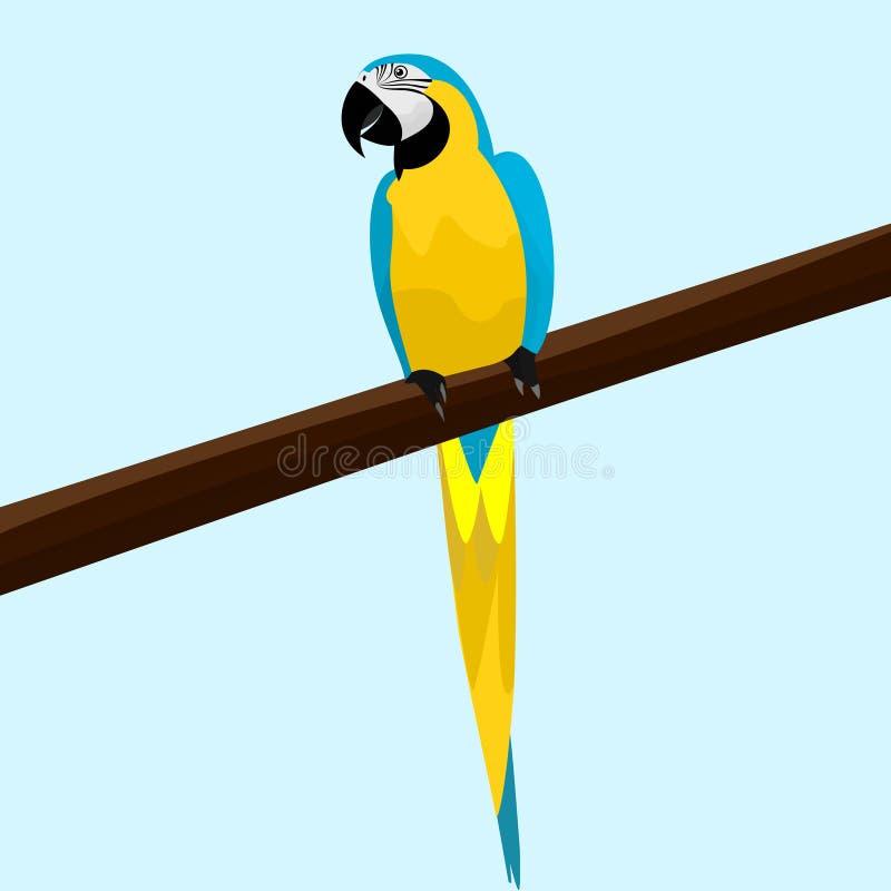 Um papagaio bonito que senta-se em um ramo de uma árvore ilustração do vetor
