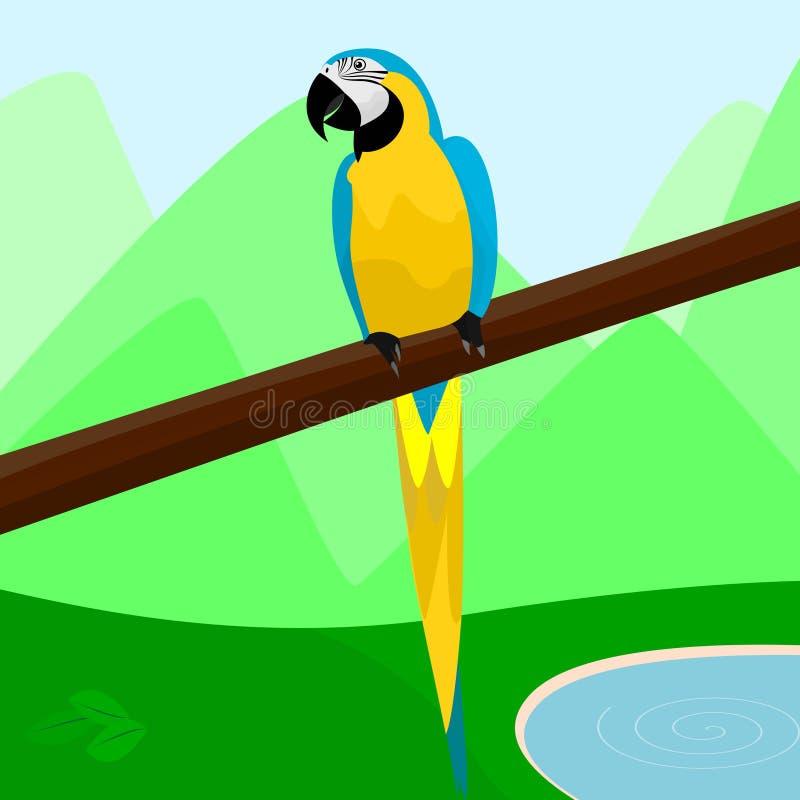 Um papagaio bonito que senta-se em um ramo de uma ilustração do vetor da árvore ilustração do vetor