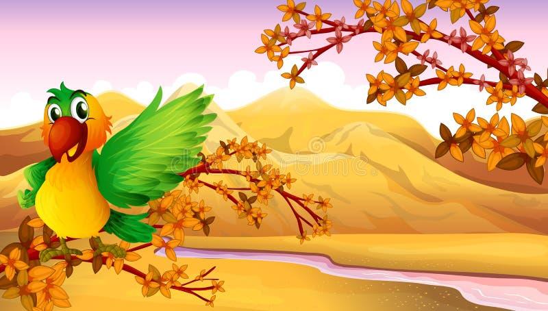 Um papagaio na árvore perto do rio ilustração do vetor