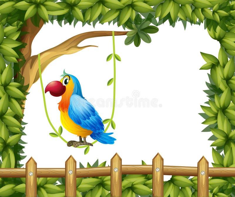 Um papagaio que pendura em uma planta de videira perto da cerca de madeira ilustração do vetor