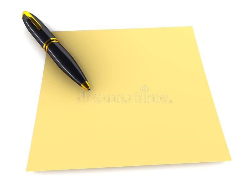 Pena e papel ilustração stock