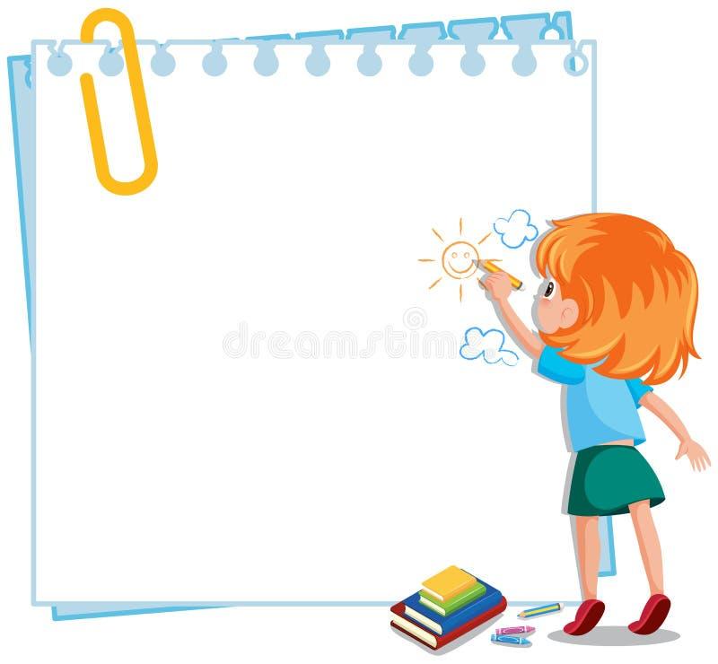 Um papel e uma menina de nota ilustração do vetor