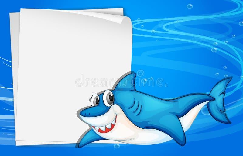 Um papel vazio sob o mar ao lado de um tubarão ilustração stock