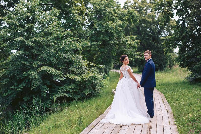 Um par anda ao longo de um trajeto de madeira entre as árvores no parque e gerencie para trás fotografia de stock