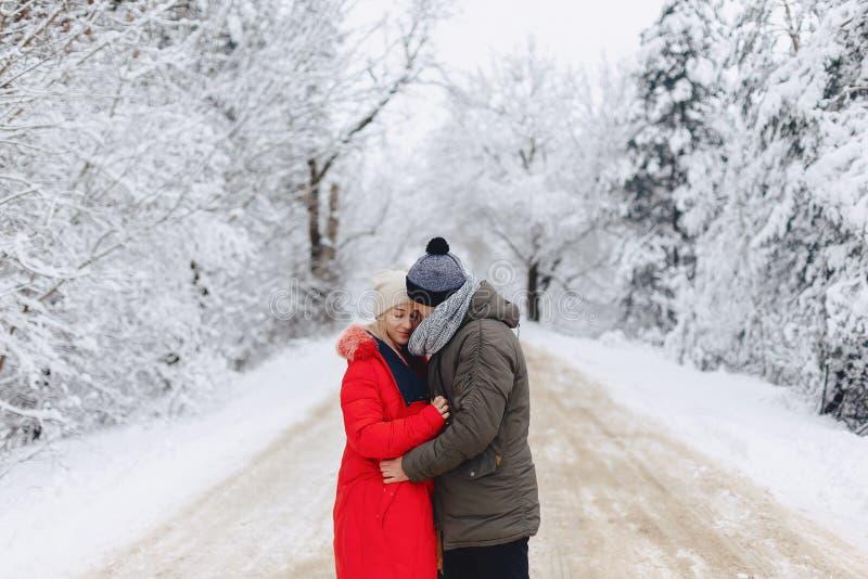 Um par bonito da família que anda em uma estrada nevado nas madeiras fotografia de stock royalty free