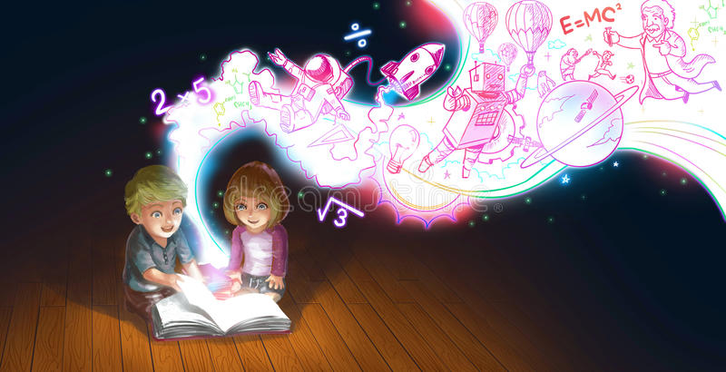 Um par bonito dos desenhos animados de crianças caucasianos menino e menina for livro de leitura no assoalho quando seu conhecime ilustração stock