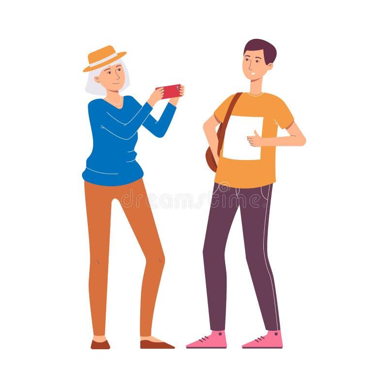 Um par caucasiano de turistas e de viajantes em férias, em curso ou em excursão ilustração stock