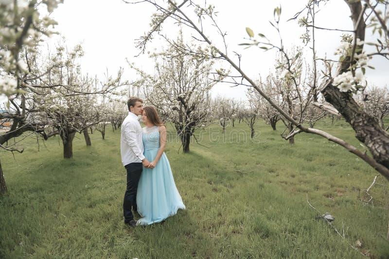 Um par de beijo do rec?m-casado que passa o tempo no jardim de floresc?ncia imagens de stock royalty free