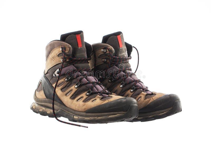 Um par de caminhar botas, isolado no fundo branco imagens de stock royalty free