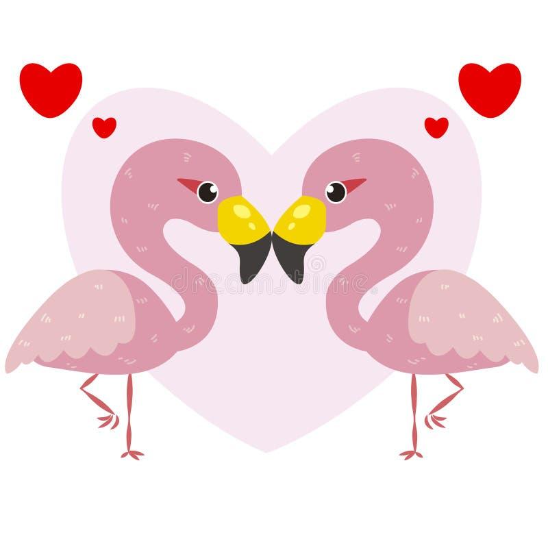 Um par de flamingos bonitos ilustração do vetor