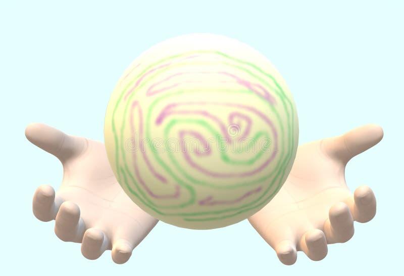 Um par de mãos humanas que guardam o travamento de um claro - bola verde com testes padrões coloridos ilustração royalty free