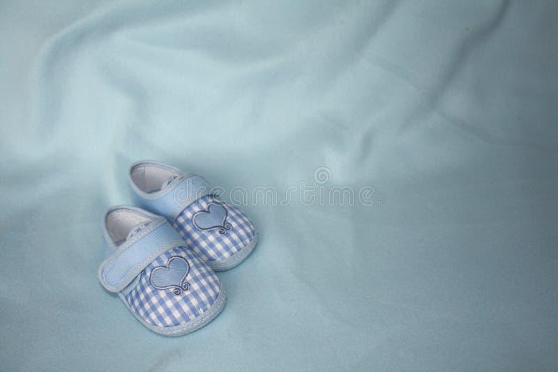 Um par de montantes checkered azuis do bebê imagens de stock royalty free