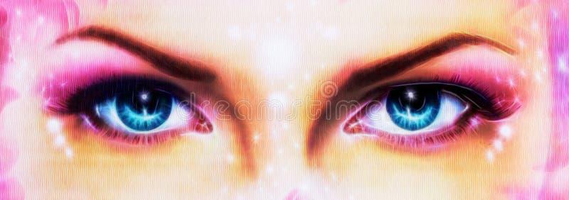 Um par de mulheres azuis bonitas eyes a irradiação acima de encantar de ilustração stock