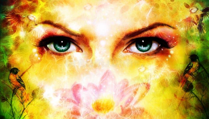 Um par de mulheres azuis bonitas eyes a irradiação acima de encantar de b ilustração royalty free