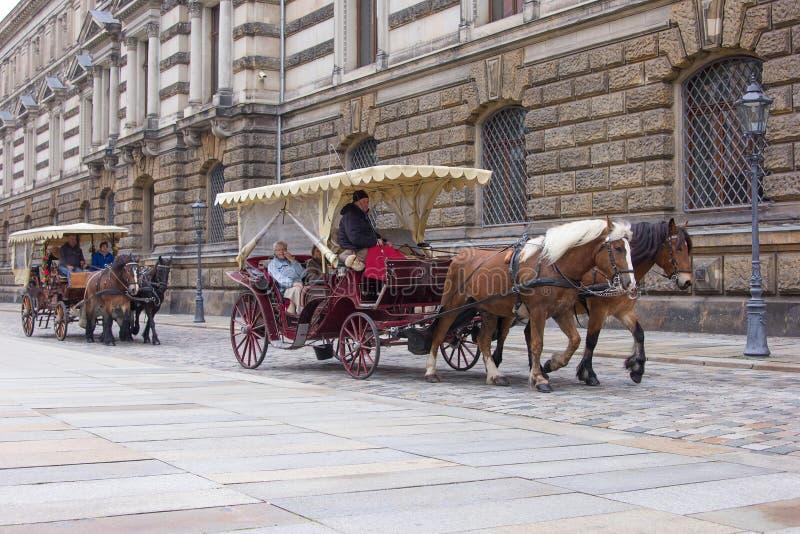 Um par de transporte puxado a cavalo fotografia de stock royalty free