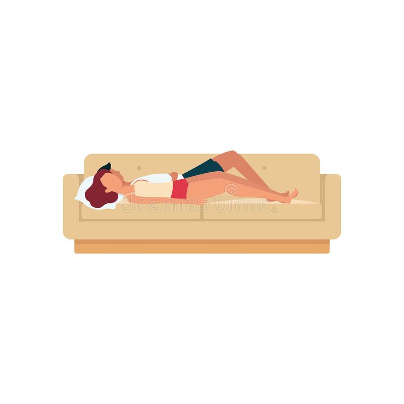 Um par do sono, um homem e uma mulher, uma mentira e um sono em suas partes traseiras em um sofá ou em um sofá ilustração stock