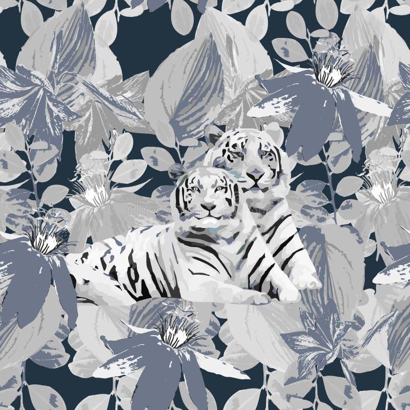 Um par dos tigres e das flores brancos ilustração do vetor