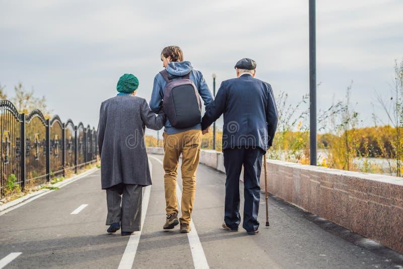 Um par idoso anda no parque com um neto assistente ou adulto masculino Importando-se com as pessoas idosas, oferecendo-se imagem de stock royalty free