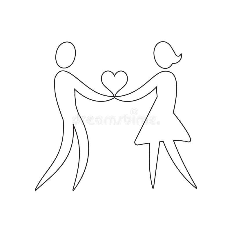 um par loving guarda um ?cone do cora??o Elemento do Valentim  ?do dia de s, do casamento para o conceito m?vel e do ?cone dos ap imagens de stock