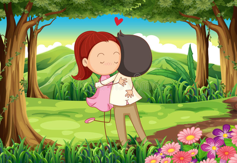 Um par loving na floresta ilustração do vetor