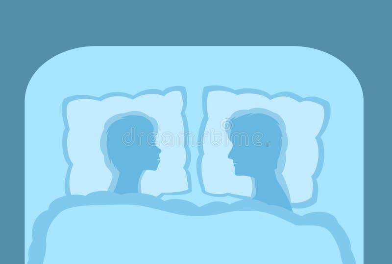 Um par na cama, o homem e o resto e o sono da mulher ilustração stock