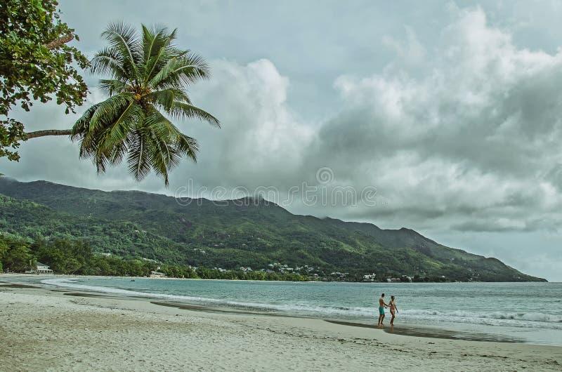 Um par na praia agradável com areia branca, palmas e os montes verdes imagem de stock