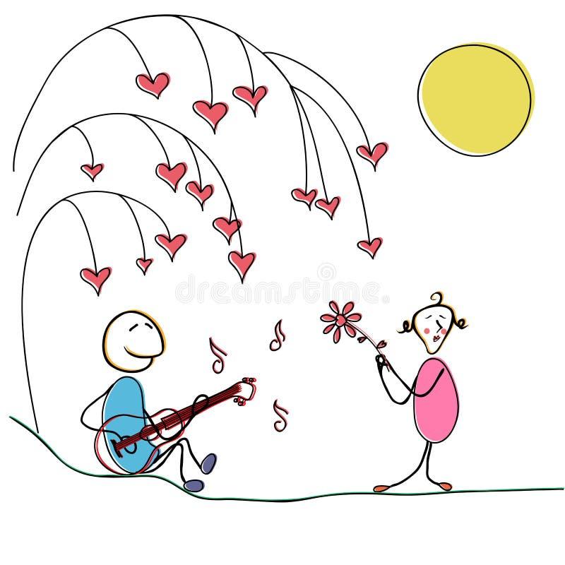 Um par no amor sob uma árvore no dia do ` s do Valentim do St Um homem joga uma mulher em uma guitarra A menina é tocado a propós ilustração stock