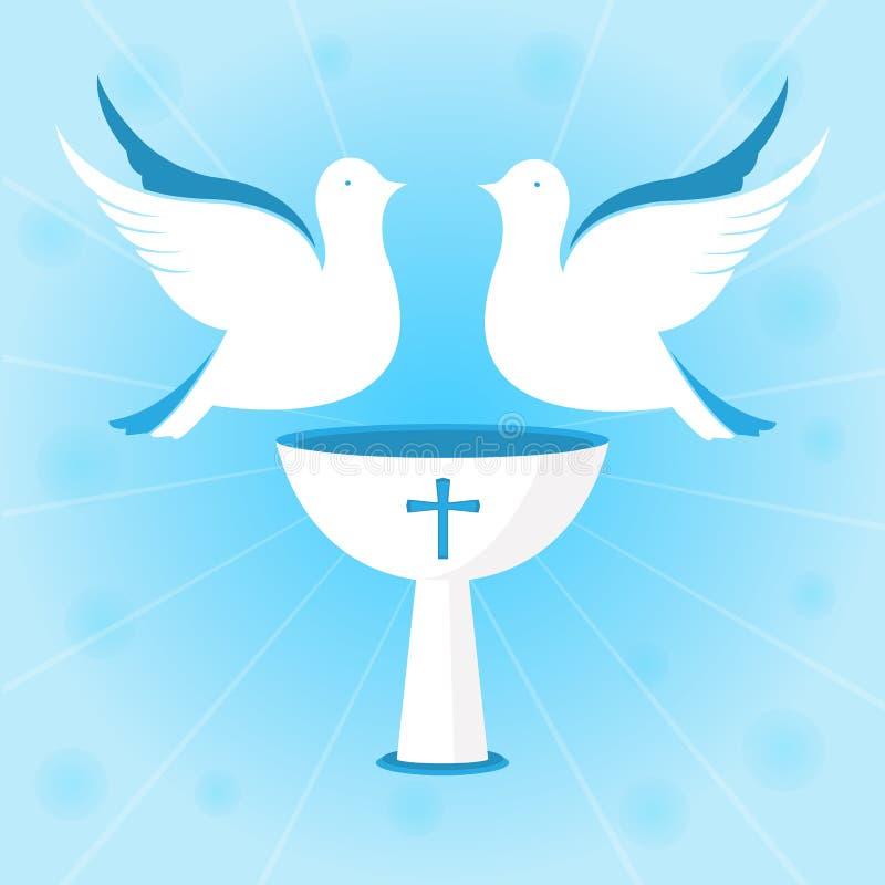 Um par pombos brancos estão pairando sobre o cálice Baptismo de Jesus Projeto para batizar a cerimônia ilustração royalty free