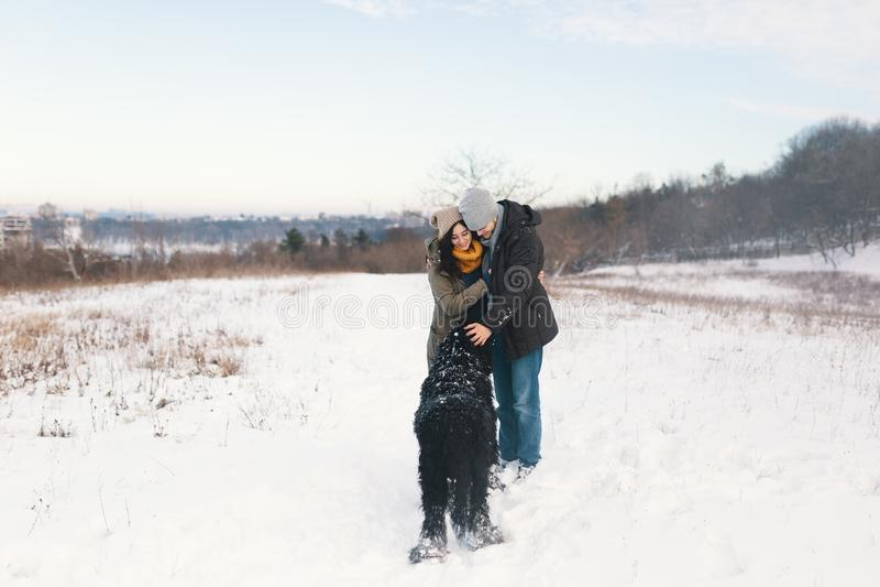 Um par que aprecia o inverno ao andar seu havin grande do cão preto imagens de stock